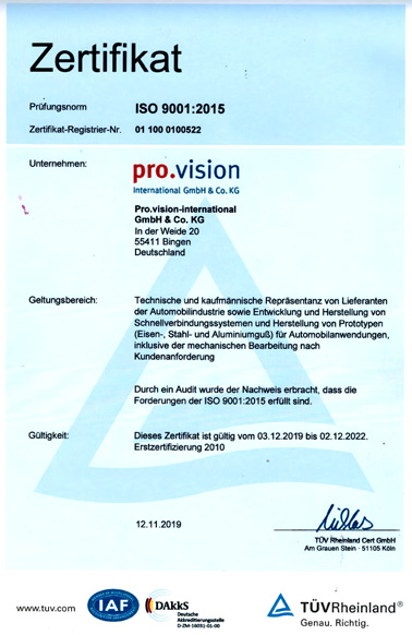 DIN Iso9001 Zertifikat pro.vision